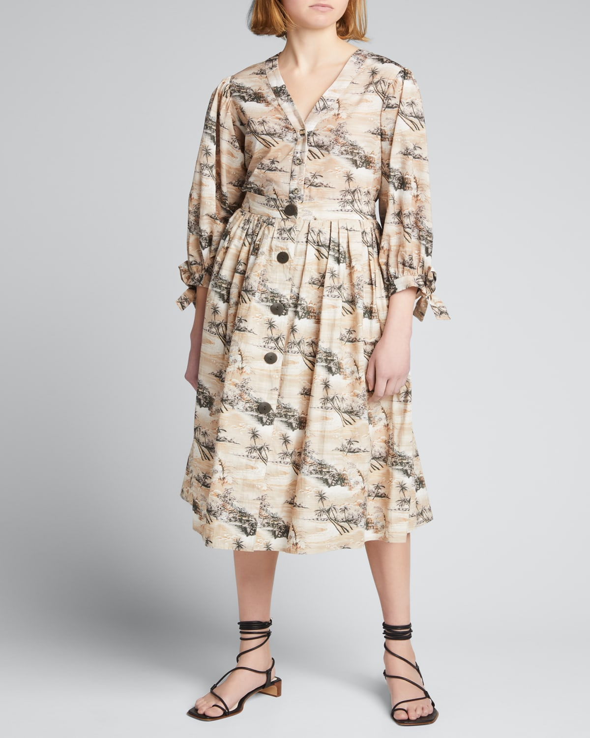 Marge Pleated Button-Front Skirt