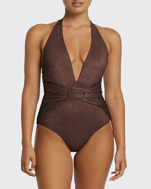 Paloma Plunge Metallic One-Piece Swimsuit