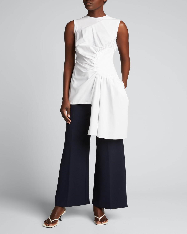 Side-Drape Cotton-Blend Top
