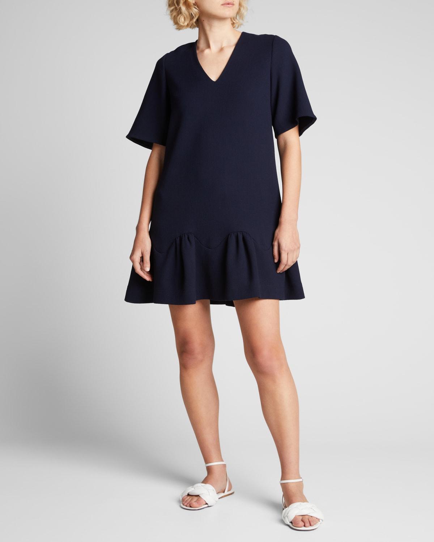 Wool Crepe Flounce-Hem Tunic Dress