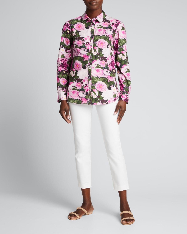 Floral-Print Button-Down Cotton Blouse