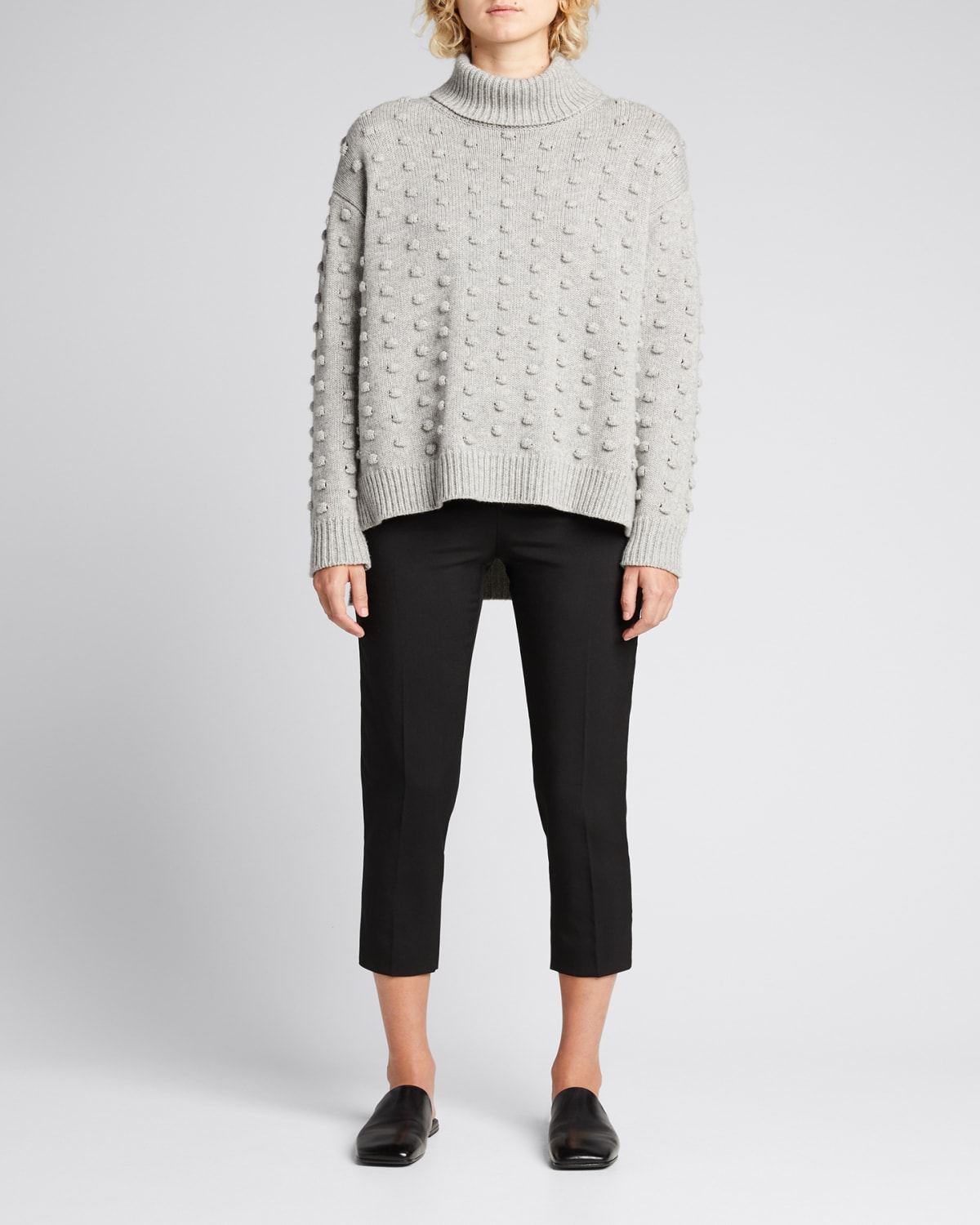 Dotted Turtleneck Wool Sweater