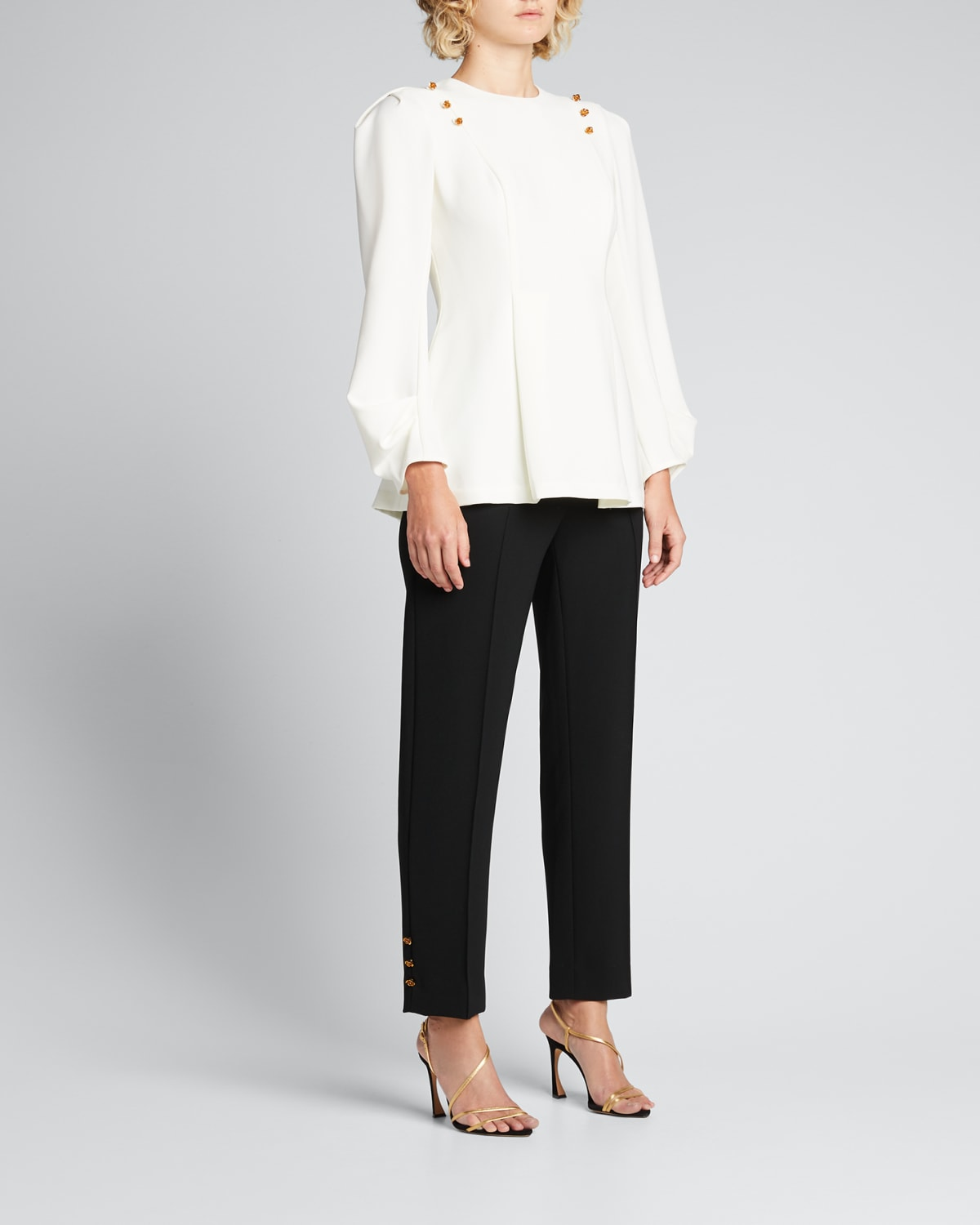 Demi Crepe Pants with Rose Buttons