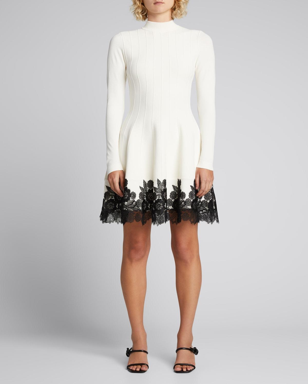 Mock-Neck Lace-Hem Dress