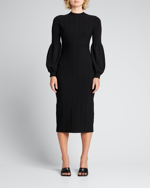 Seamed Mock-Neck Midi Dress