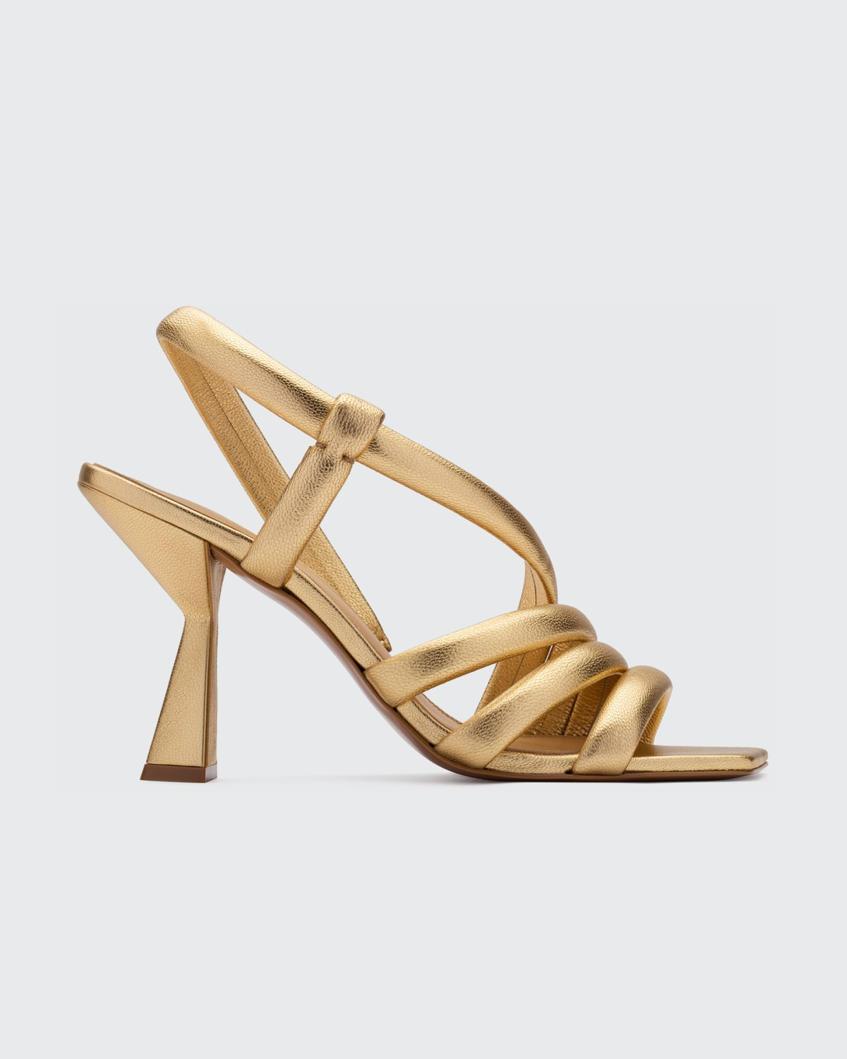 Snake-Embossed Strappy Stiletto Sandals