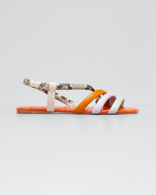 Multicolored Strappy Flat Sandals