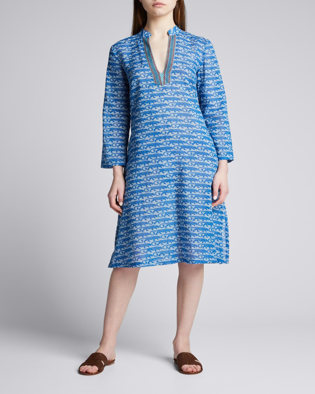Malika Leopard-Print Embroidered Tunic Dress
