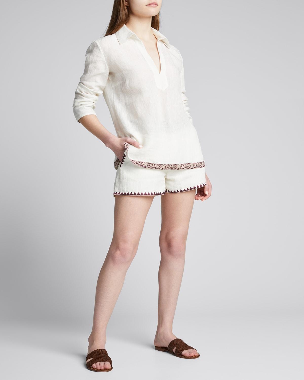 Calypso Embroidered-Trim Linen Shorts