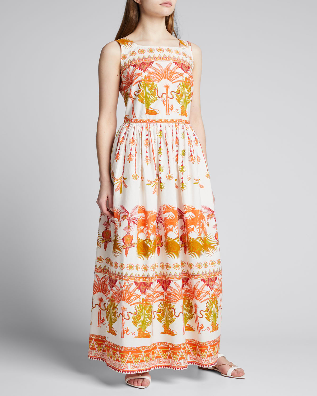 Julia Winter Garden-Print Linen A-Line Dress