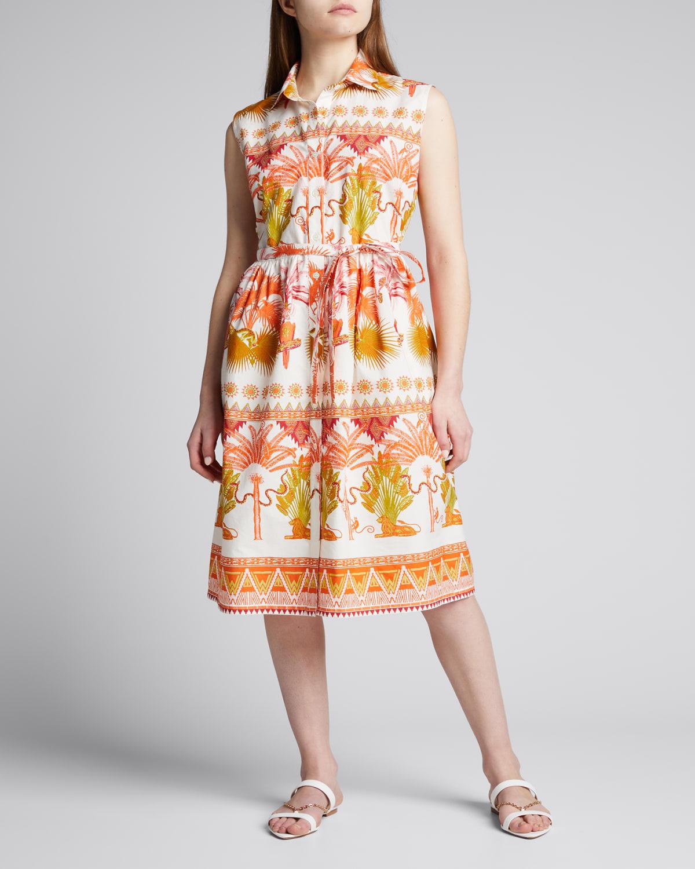 Meg Winter Garden-Print Belted Midi Dress