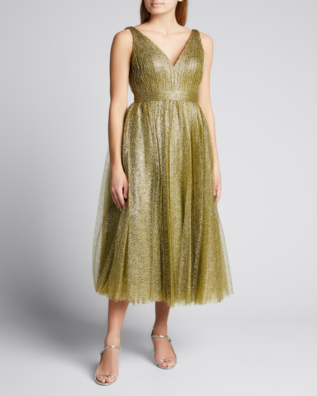 Tulle Pleated Midi Dress