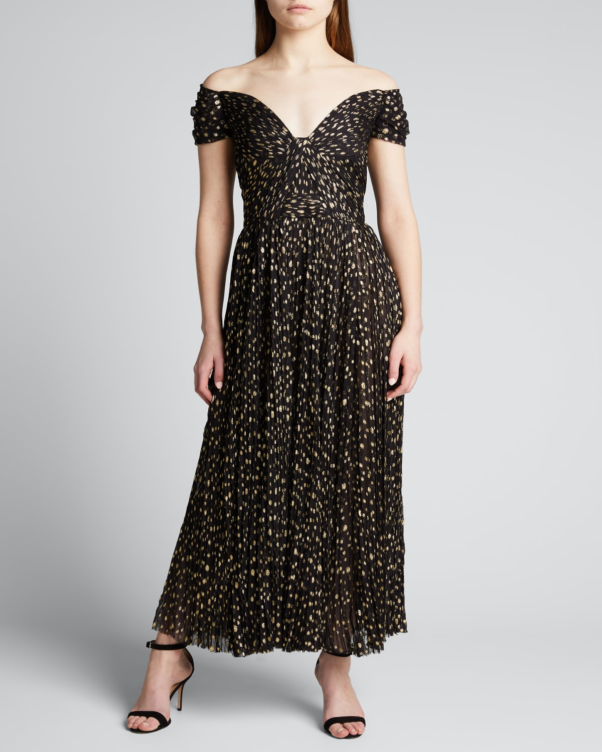 Dotted Off-The-Shoulder Tulle Dress
