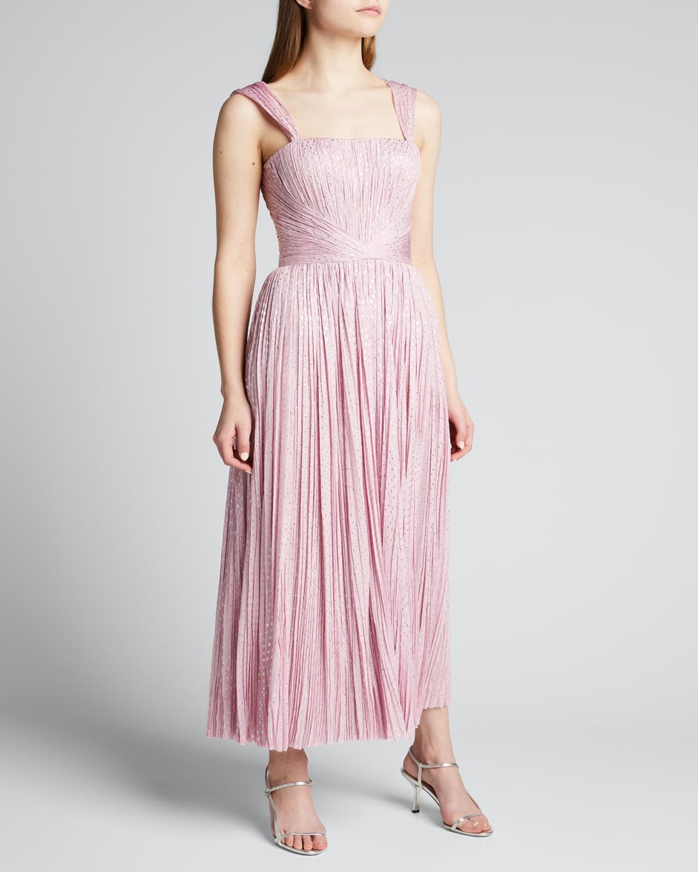 Hand-Pleated Metallic Dot Midi Dress