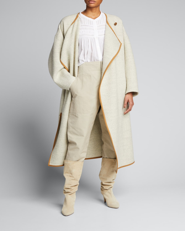 Jolni Wool Long Jacket with Trim