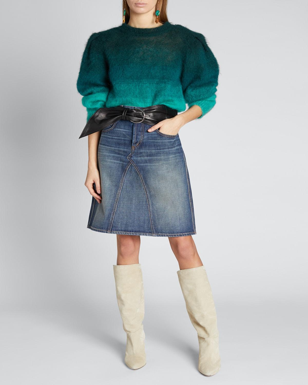 Deniza Ombre Strong-Shoulder Sweater