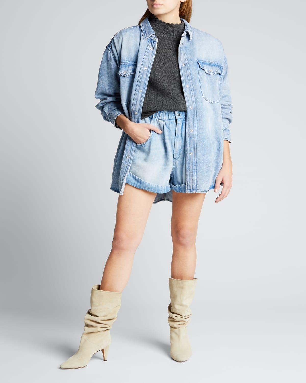Tania Pearl-Snap Oversized Chambray Shirt