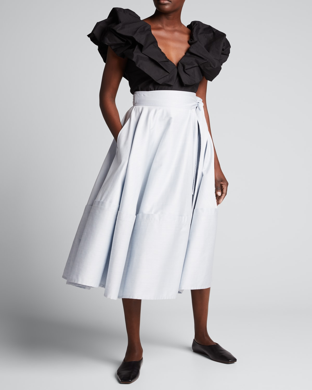 Bellflower Self-Tie Midi Skirt