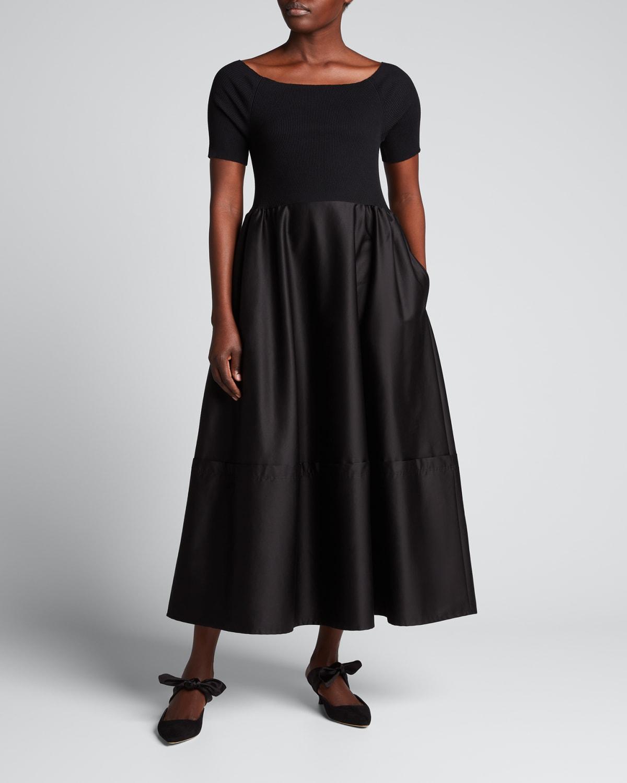 Viola Mixed-Media Boat-Neck Dress