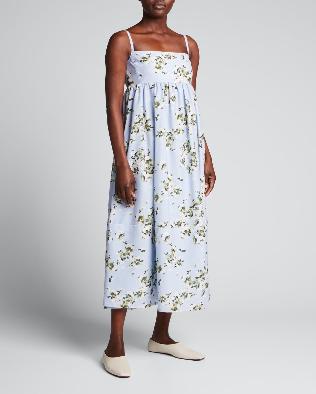 Hydrangea-Print Midi Dress