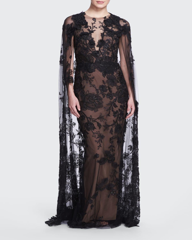 Lace Illusion Gown w/ Removable Cape
