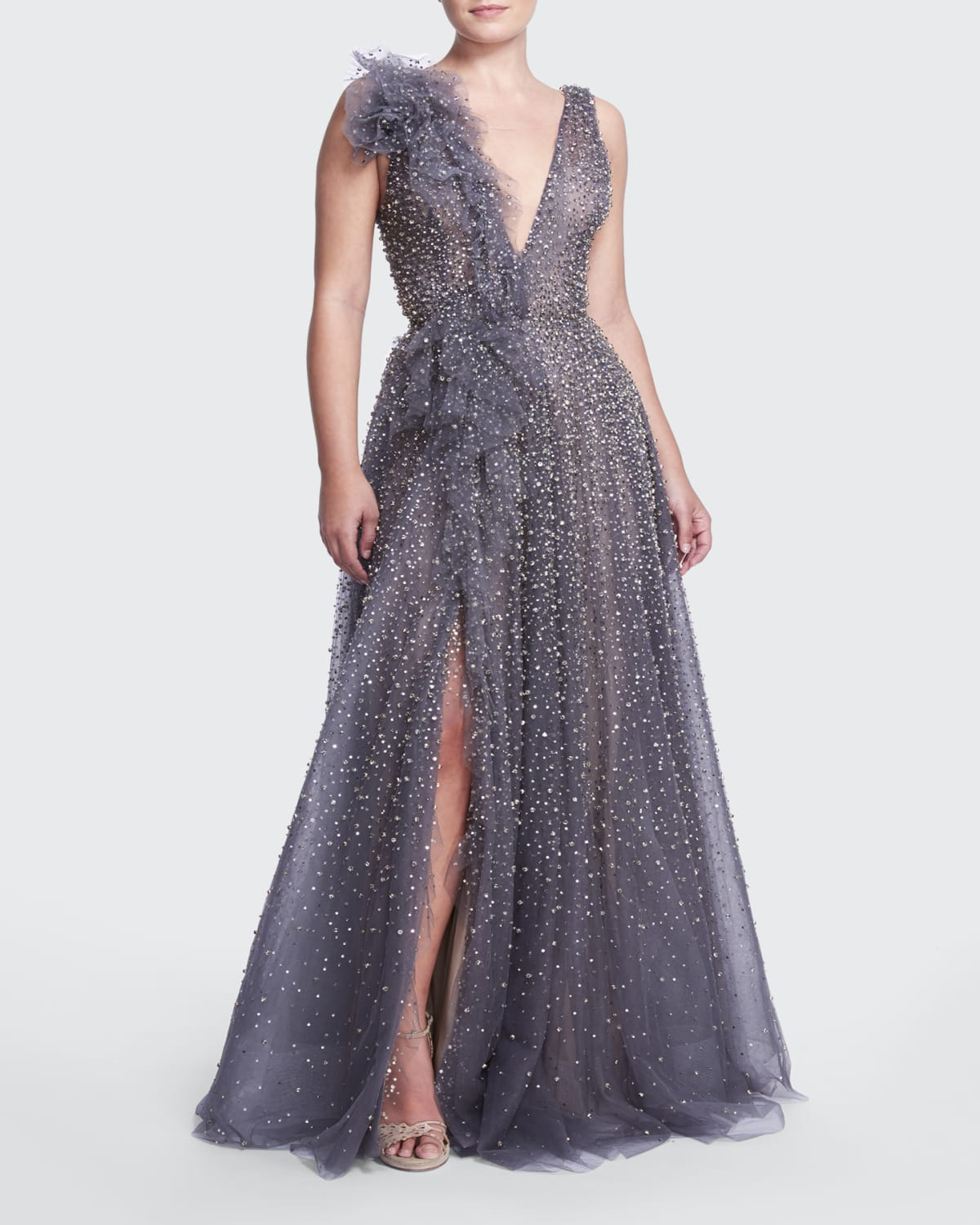 Crystal-Embellished Gown w/ Ruffle Draping