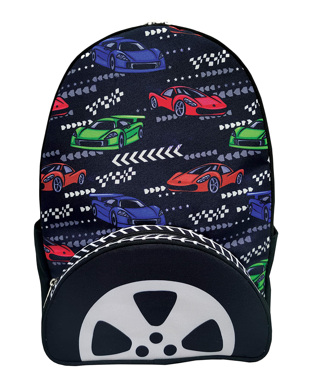 Boy's Race Car-Print Hooded Backpack