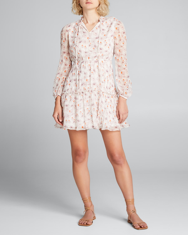 Printed Silk Long-Sleeve Tiered Dress