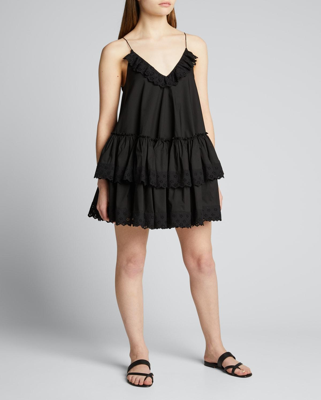 Penelope Embroidered Ruffle Dress