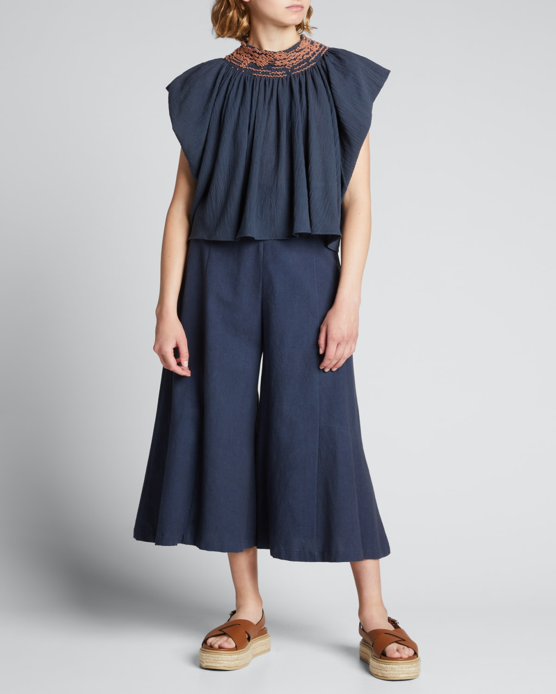 Macrina Embroidered Cap-Sleeve Top