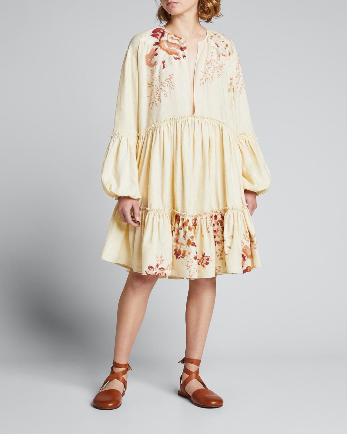 Marila Embroidered Tiered Dress