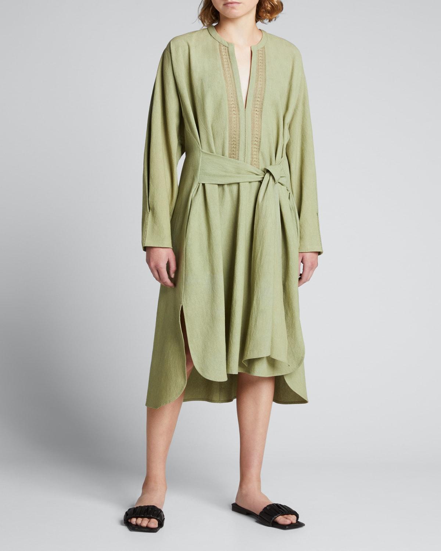 Octavia Embroidered Belted Dress