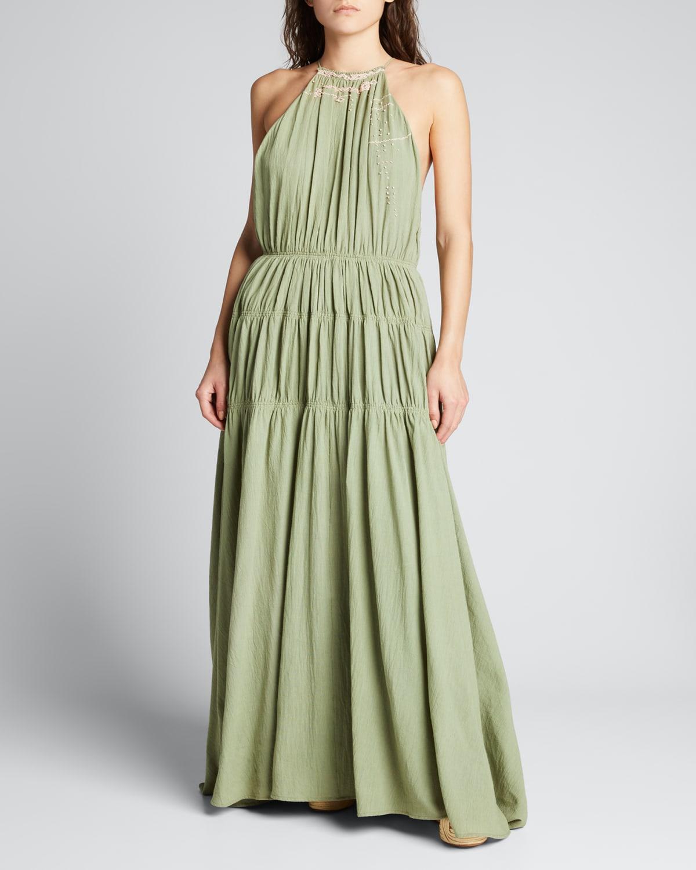 Alejandra Ruched Embellished Dress