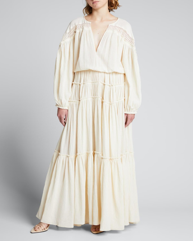 Joaquina Crochet-Trimmed Tiered Maxi Dress