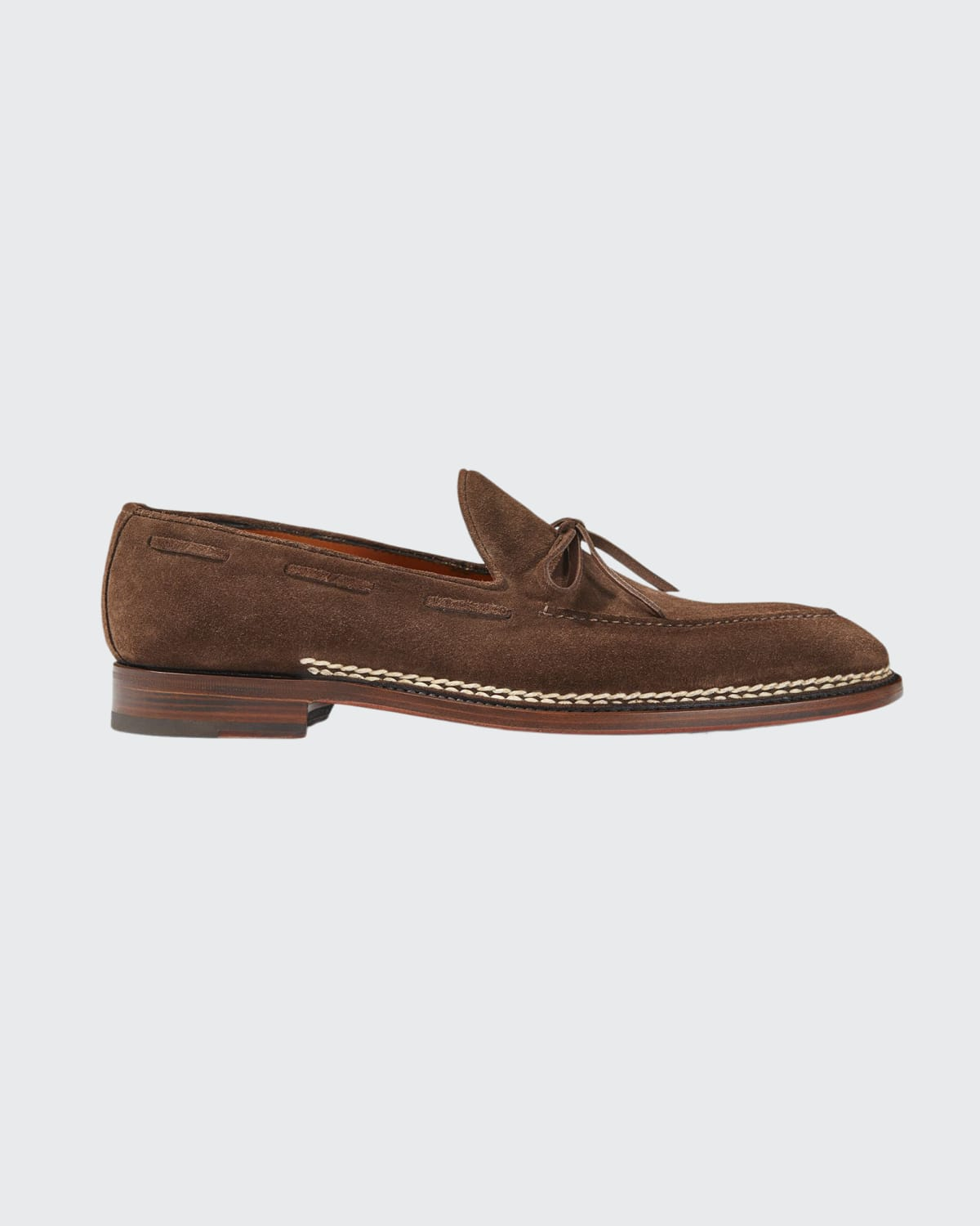 Men's Bow Suede Moc-Toe Loafers