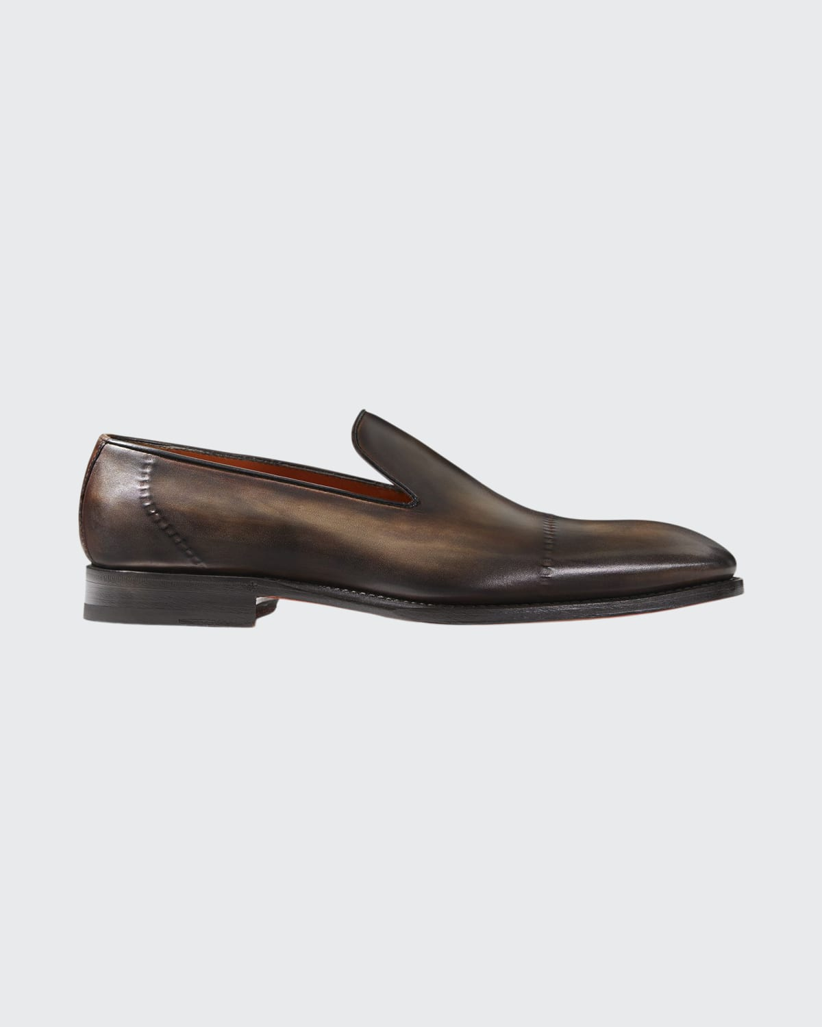 Men's Burnished Leather Cap-Toe Loafers