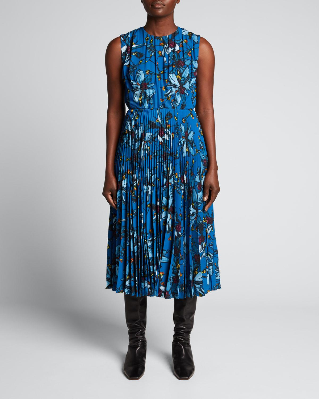 Floral-Print Pleated Crepe Dress