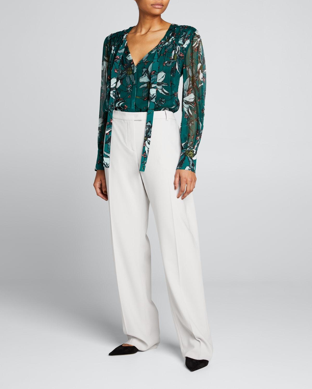 Floral-Print Tie-Neck Long-Sleeve Blouse