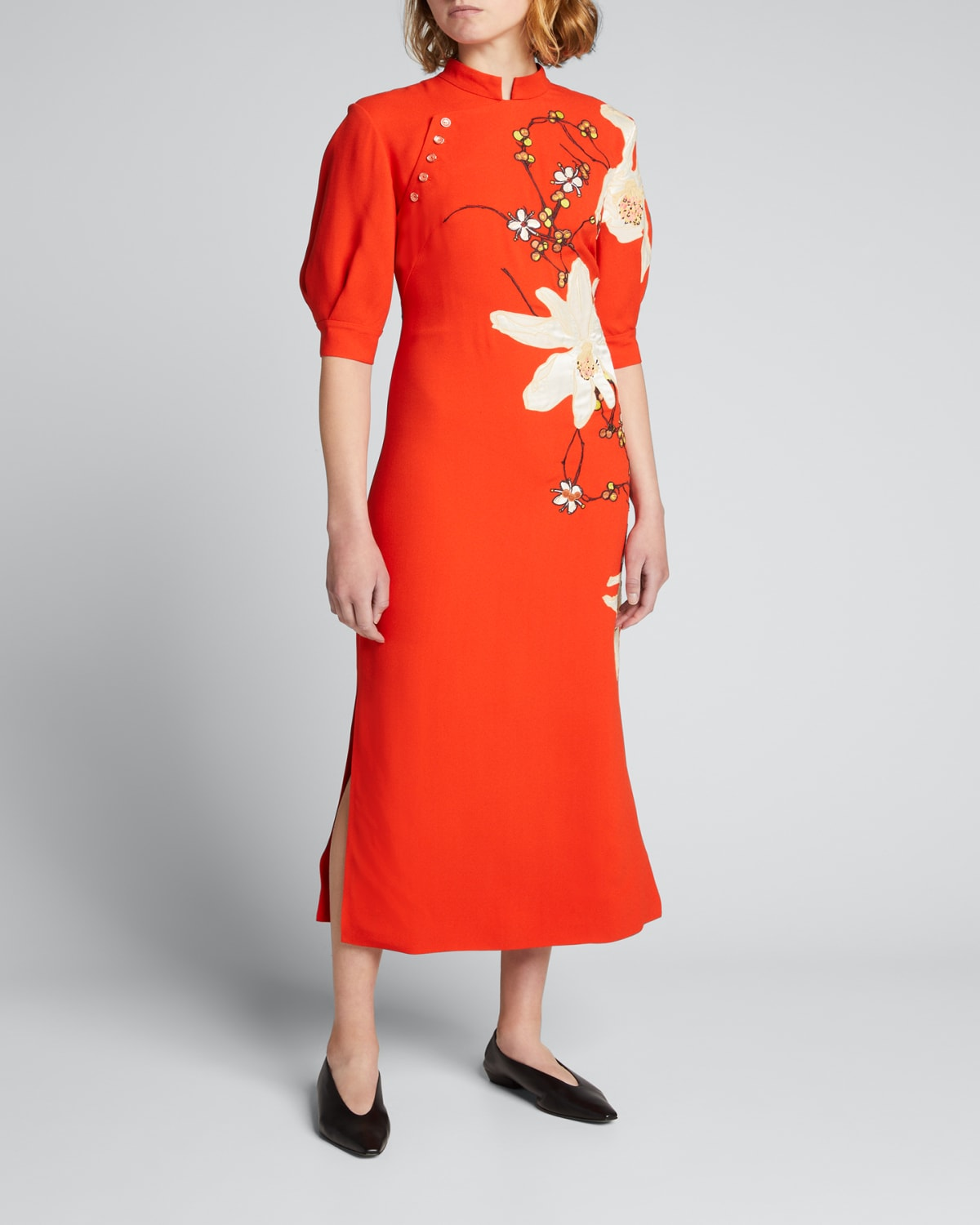 Floral-Embroidered Crepe Midi Dress