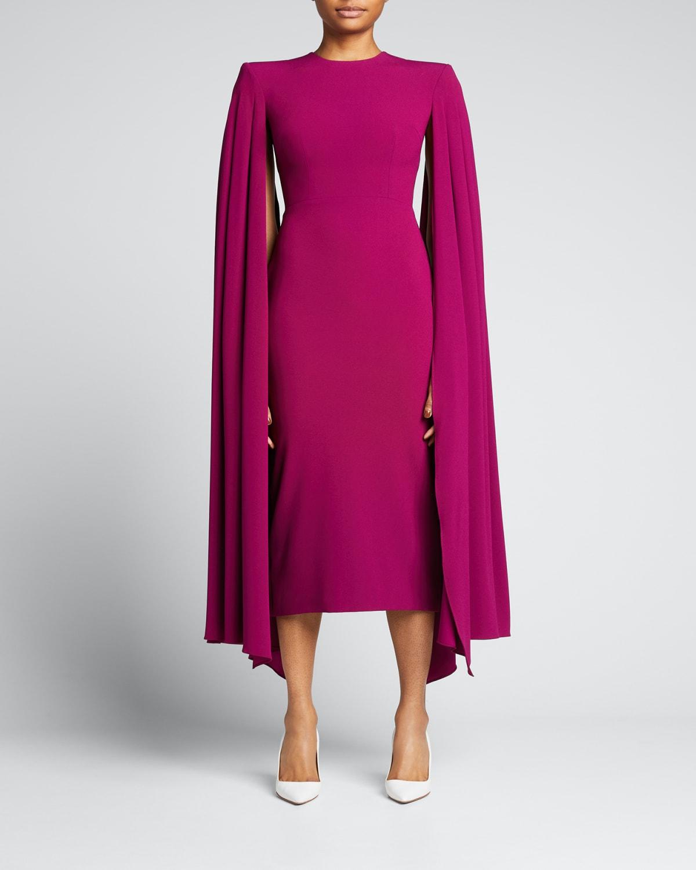 Cape-Sleeve Crepe Midi Dress