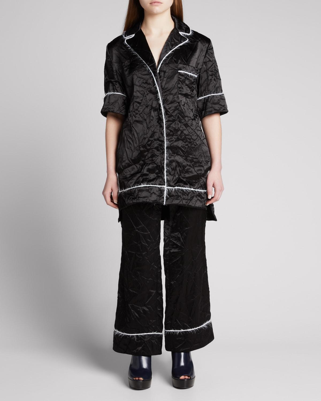Satin Mohair-Trimmed Pajama Shirt
