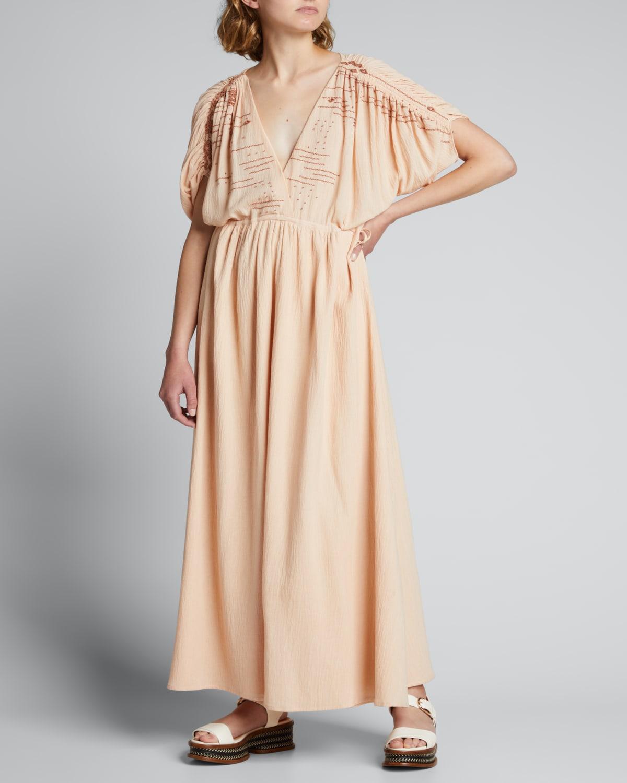 Ana Embroidered Kimono-Sleeve Maxi Dress