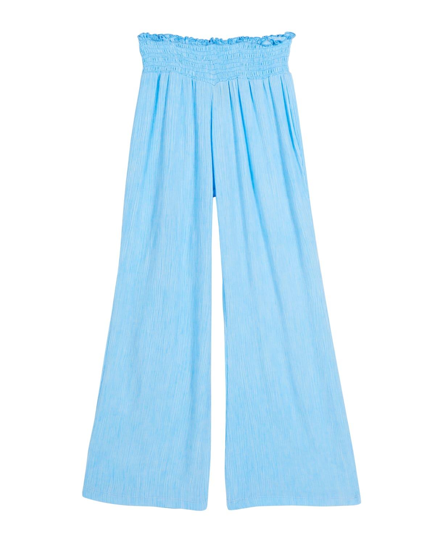 Girl's Smocked Wide-Leg Gauze Pants