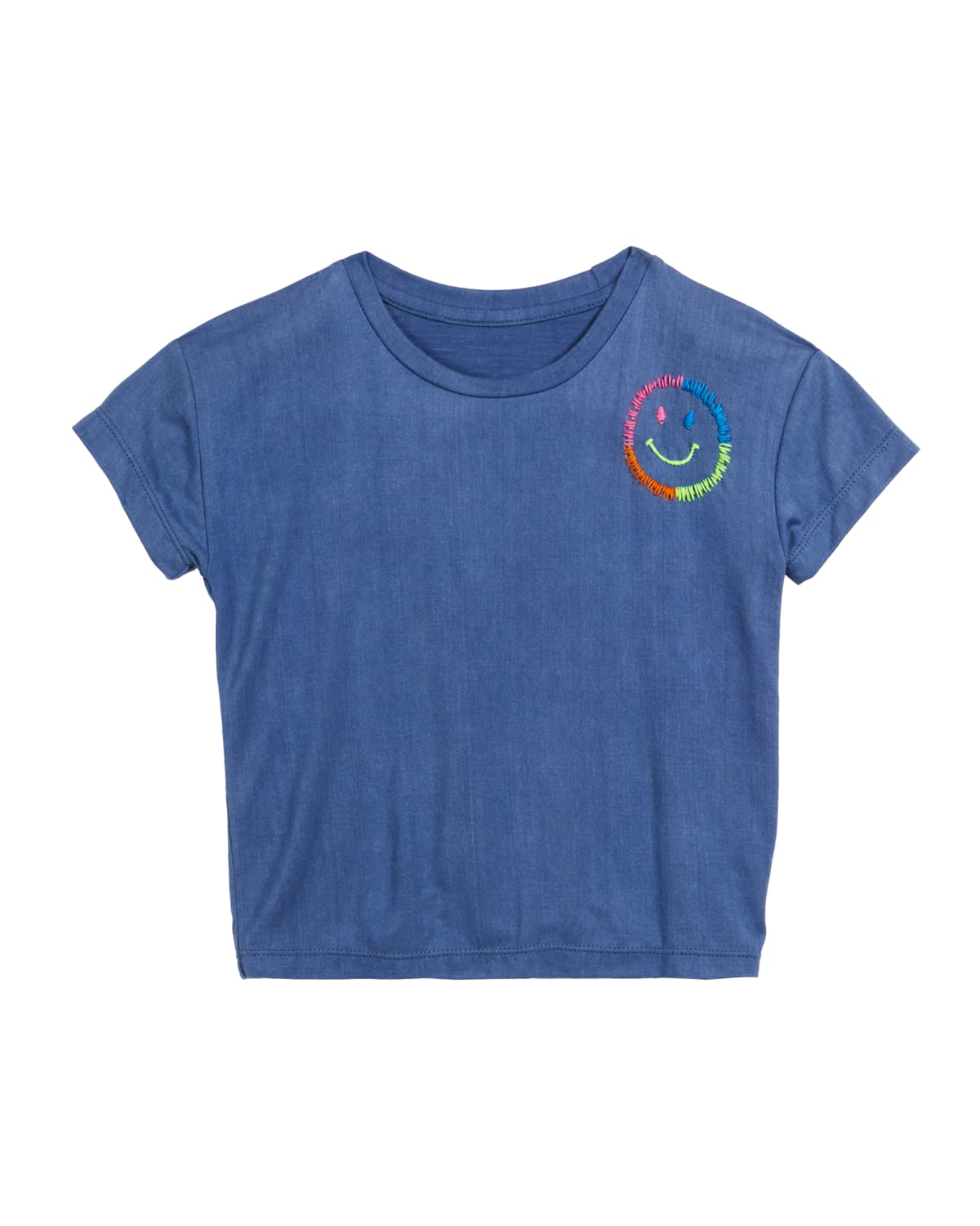 Girl's Embroidered Smiley Face T-Shirt