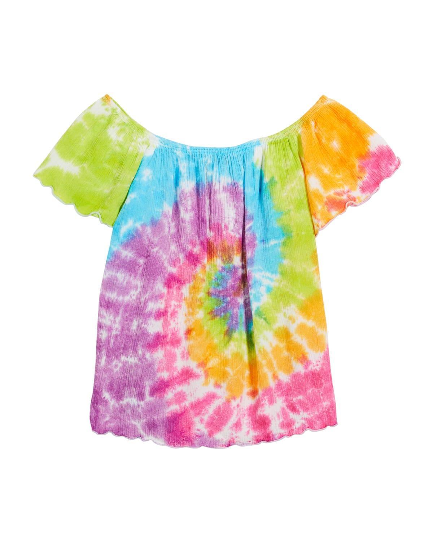 Girl's Tie-Dye Short-Sleeve Gauze Top