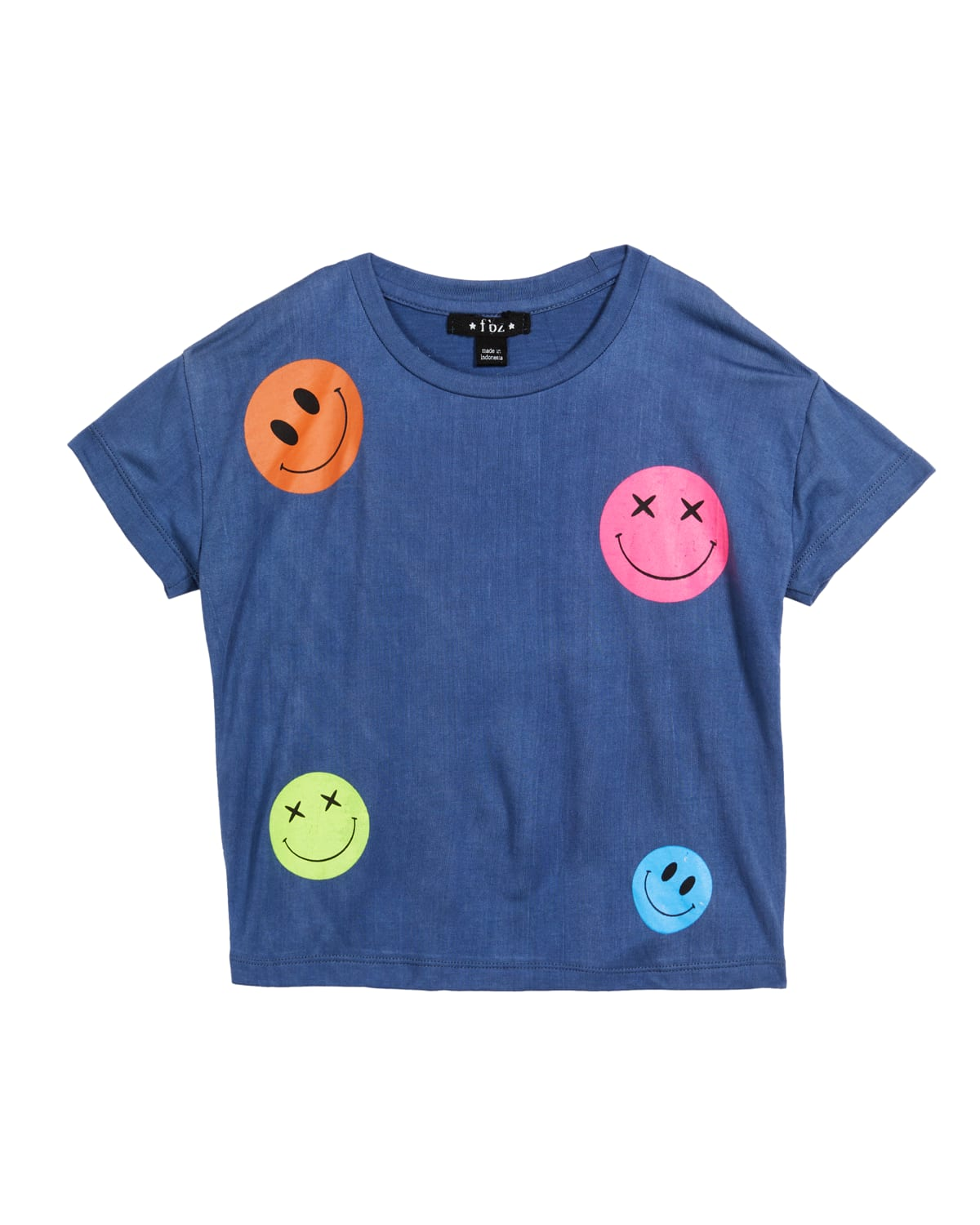 Girl's Smiley Face Graphic Short-Sleeve Shirt