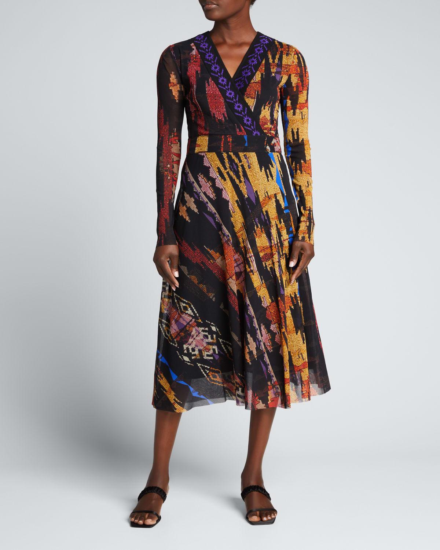 Ikat Geo-Print Long-Sleeve V-Neck Dress