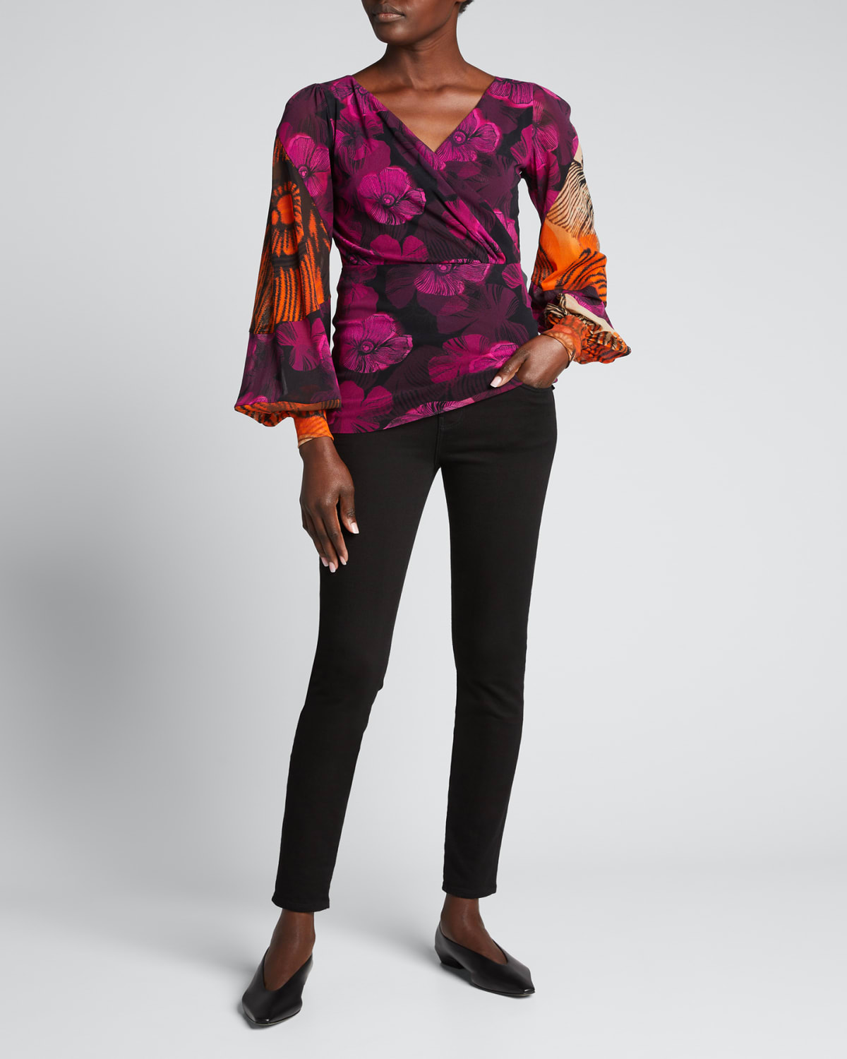 Mixed Floral Deco Bishop-Sleeve Tulle Top