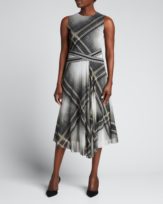 Tartan-Print Sleeveless Tulle Midi Dress