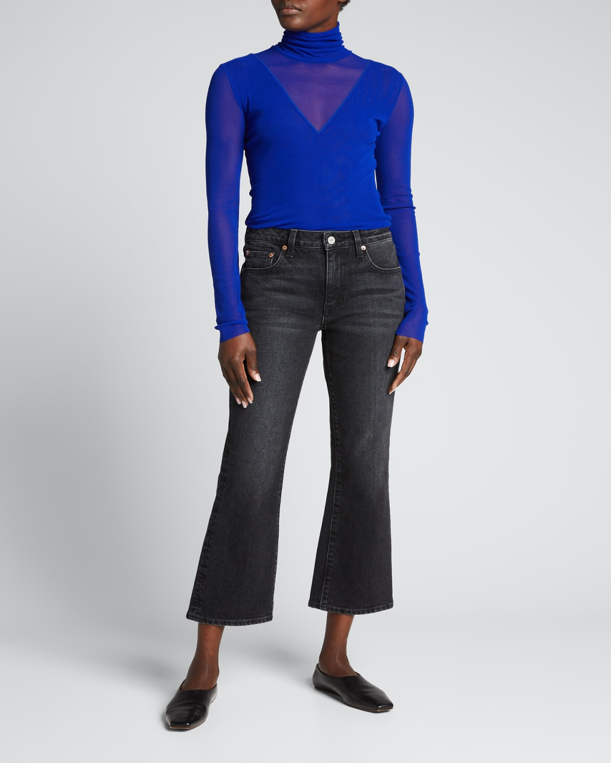 Solid Tulle Long-Sleeve Illusion Turtleneck Top